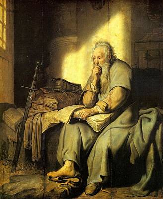 Netherlands Painting - St. Paul In Prison by Rembrandt van Rijn