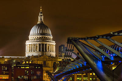 St Pauls Cathedral Photograph - St Paul's And The Millennium Bridge by Ian Hufton