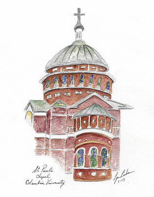Painting - St. Paul's Cathedral At Columbia University by AFineLyne