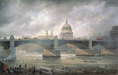 St Pauls London Painting - St. Paul's Cathedral From The Southwark Bank by Richard Willis