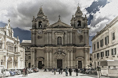 Maltese Mixed Media - St. Paul's Cathedral by Maria Coulson