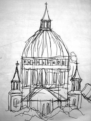 Matthew Joseph Williams Drawing - St Paul's Cathedral by Artists With Autism Inc