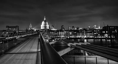 St Pauls Cathedral Photograph - St Pauls With The Millennium Bridge by Ian Hufton