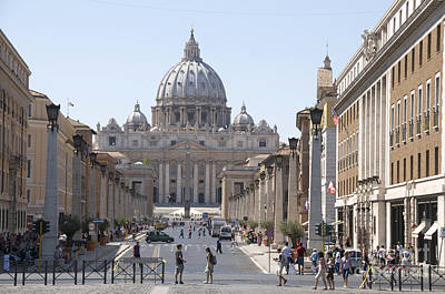 Vatican Photograph - St Peter Basilica Viewed From Via Della Conciliazione. Rome by Bernard Jaubert
