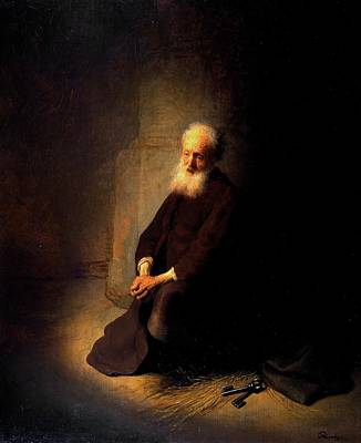 Netherlands Painting - St. Peter In Prison by Rembrandt van Rijn