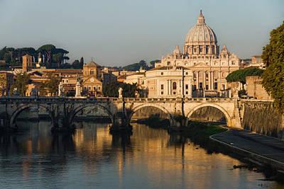 Digital Art - St Peter Morning Glow - Impressions Of Rome by Georgia Mizuleva