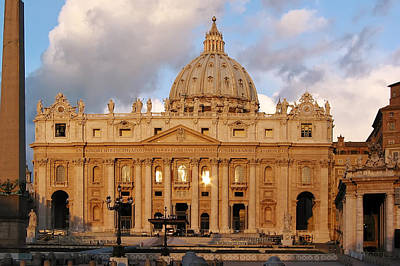 Vatican Photograph - St. Peters Basilica by Adam Romanowicz