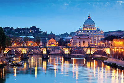 Photograph - St Peters Basilica And Pont Santangelo by Richard I'anson