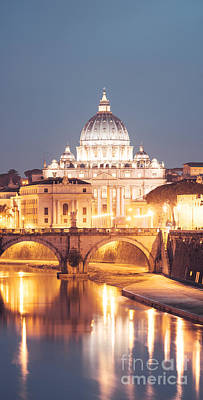 Vatican Photograph - St. Peter's Basilica At Night by Matteo Colombo