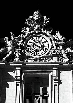 Photograph - St. Peters Basilica Clock by John Rizzuto
