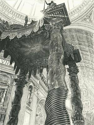 Drawing - St. Peters Basilica  by Norman Bean