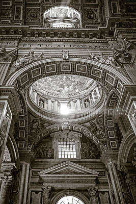 St. Peter's Rays In Sepia Art Print