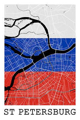 Russia Digital Art - St Petersburg Street Map - St Petersburg Russia Road Map Art On Flag by Jurq Studio