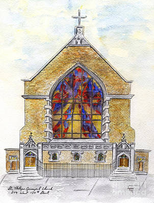 Painting - St. Phillip's Church Of Harlem by AFineLyne