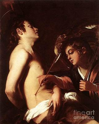 Torah Drawing - St Sebastian Healed By An Angel by Celestial Images