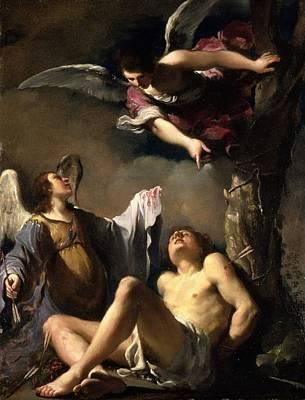 St. Sebastian Succoured By Two Angels Art Print