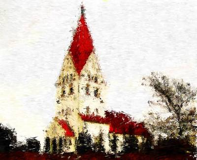 Digital Art - St Severin Church In Haderslev_impressionist Digital Painting by Asbjorn Lonvig