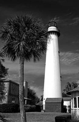 St. Simons Island Georgia Lighthouse In Black And White Art Print
