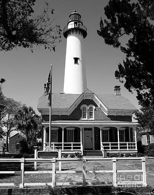 Photograph - St Simons Island Lighthouse Bw by Mel Steinhauer