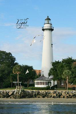 Photograph - St. Simons Lighthouse With Verse by Mary Hershberger