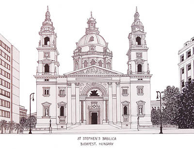 Mixed Media - St Stephens Basilica by Frederic Kohli