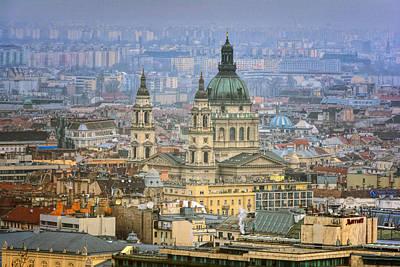 Budapest Hungary Photograph - St Stephen's Basilica From Gellert Hill by Joan Carroll