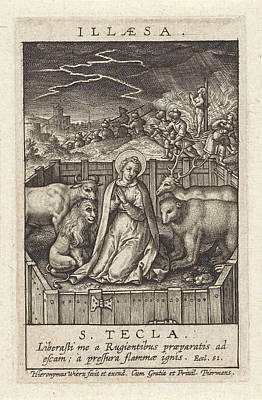 Pole Drawing - St. Thecla Of Iconium Surrounded By A Lion by Hieronymus Wierix