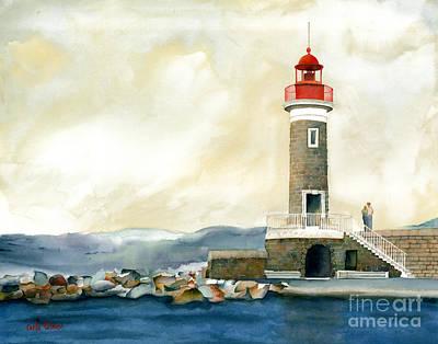 St.tropez Painting - St. Tropez Lighthouse France by Carla Palmer