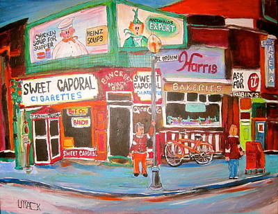 Cigarette Ads Painting - St. Urbain And Mount Royal Montreal Memories by Michael Litvack