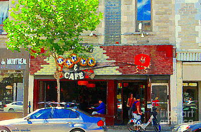 Painting - St Viateur Bagel And Cafe Mont Royal Classic Cute Sidewalk Cafe Scene Montreal Art Carole Spandau  by Carole Spandau