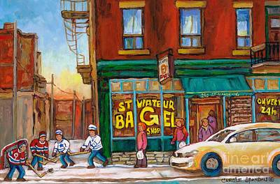 Hockey Art Boys Playing Hockey Painting - St. Viateur Bagel-boys Playing Street Hockey In Laneway-montreal Street Scene Painting by Carole Spandau