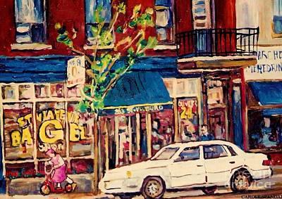 Painting - St Viateur Bagel Shop Corner Park Avenue Montreal Streetscenes by Carole Spandau
