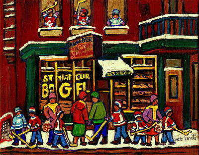Hockey Art Boys Playing Hockey Painting - St Viateur Bagel Shop Deli Corner Depanneur Montreal Landmarks Hockey Art Paintings Carole Spandau by Carole Spandau