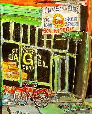 Le Plateau. Montreal Memories Painting - St. Viateur Bagel Shop by Michael Litvack