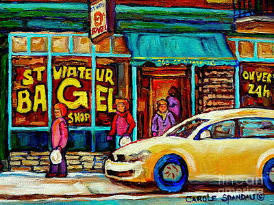 Bread And Cheese Painting - St. Viateur Famous Bagel Shop In Winter Montreal Street Scene Painting By Carole Spandau by Carole Spandau