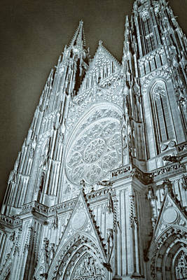 St Vitus Cathedral Rose Window At Night Art Print by Joan Carroll