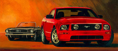 1965 Ford Mustang Painting - Stablemates by Norb Lisinski