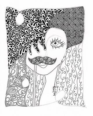 Blue Doodle Drawing - Stache Lady by Paula Dickerhoff