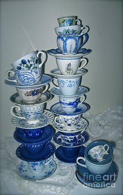 Photograph - Stack Of Blue Teacups  by Nancy Patterson