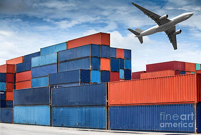 Stack Of Cargo Containers  Art Print