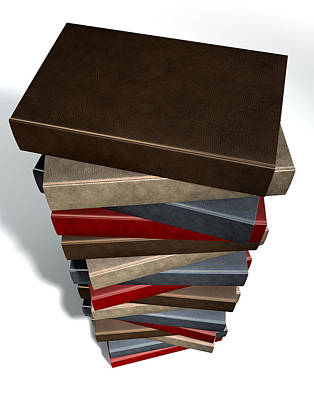 Library Digital Art - Stack Of Generic Leather Books by Allan Swart