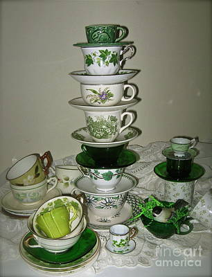 Photograph - Stack Of Green Teacups  by Nancy Patterson