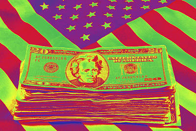 Photograph - Stack Of Money On American Flag Pop Art by Keith Webber Jr