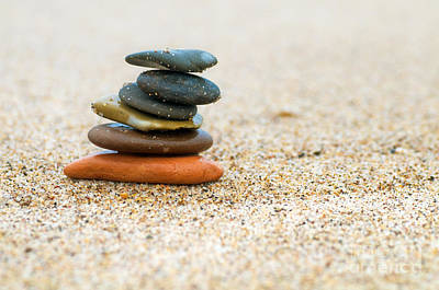 Gray Photograph - Stack Of Stones On Sand by Michal Bednarek