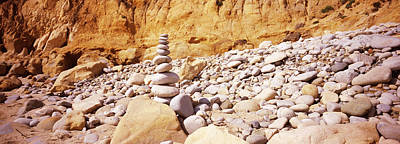 Stacked Stones Photograph - Stack Of Stones On The Beach by Panoramic Images