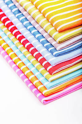 Large Group Of Objects Photograph - Stack Of Tea Towels by Wladimir Bulgar