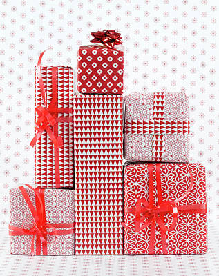 Stack Of Wapped Gifts Art Print by Muriel De Seze