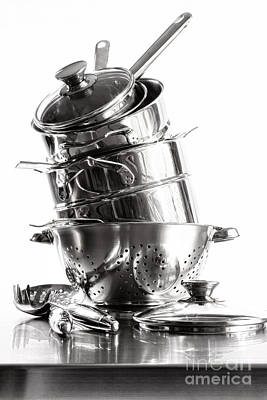 Photograph - Stack With Stainless Steel Pots And Pans On White  by Sandra Cunningham