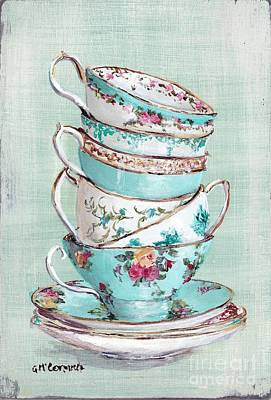 Teacup Painting - Stacked Aqua Themed Tea Cups by Gail McCormack