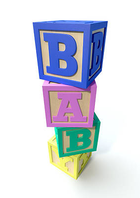 Spell Digital Art - Stacked Baby Blocks by Allan Swart